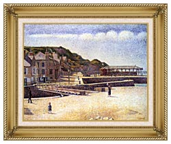 Georges Seurat Port En Bessin canvas with gallery gold wood frame