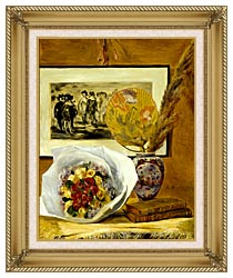 Pierre Auguste Renoir Still Life With Bouquet canvas with gallery gold wood frame