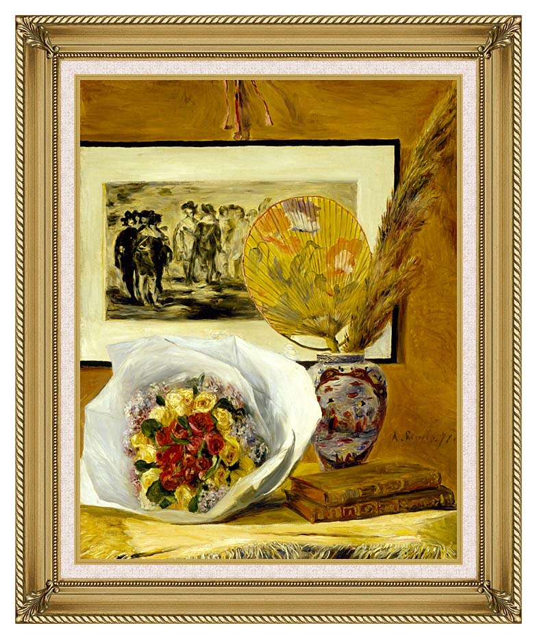 Pierre Auguste Renoir Still Life with Bouquet with Gallery Gold Frame w/Liner