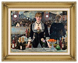 Edouard Manet A Bar At The Folies Bergere canvas with gallery gold wood frame
