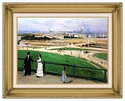 Berthe Morisot View Of Paris From The Trocadero canvas with gallery gold wood frame