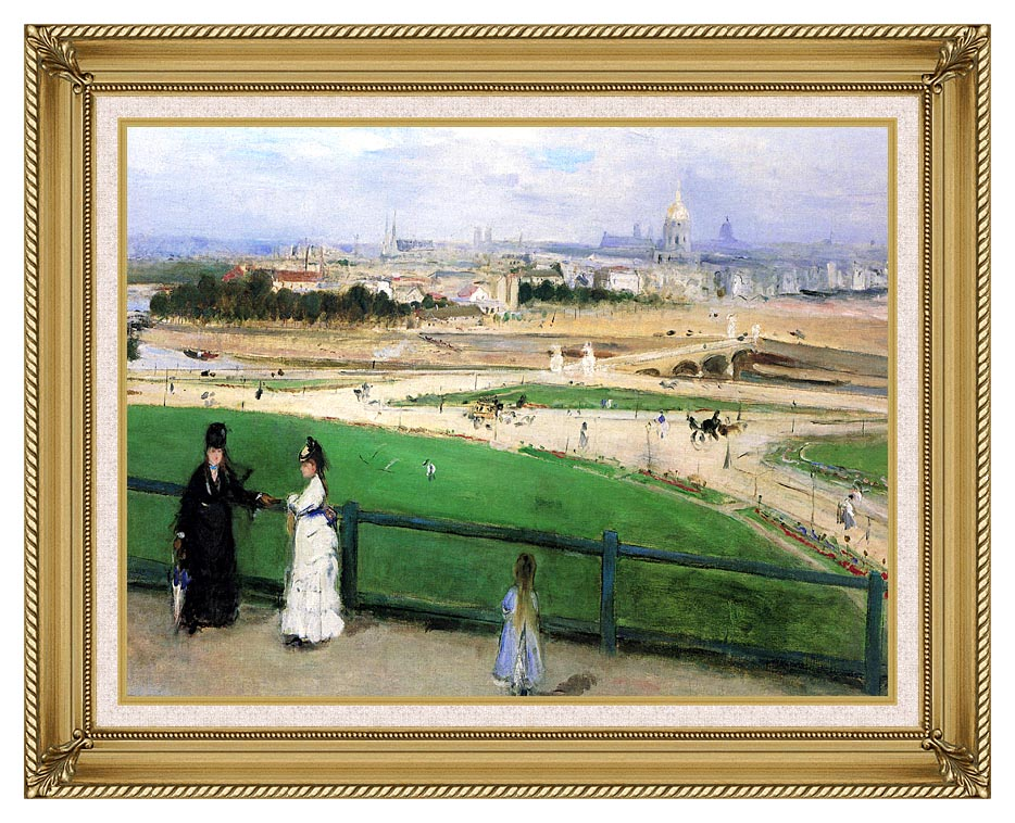 Berthe Morisot View of Paris from the Trocadero with Gallery Gold Frame w/Liner