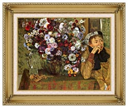 Edgar Degas Woman With Chrysanthemums canvas with gallery gold wood frame