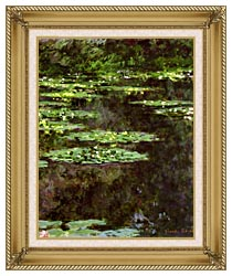 Claude Monet Water Lilies 1904 Portrait Detail canvas with gallery gold wood frame