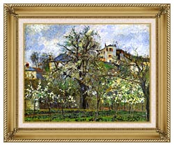 Camille Pissarro Kitchen Garden And Flowering Trees Spring Pontoise canvas with gallery gold wood frame
