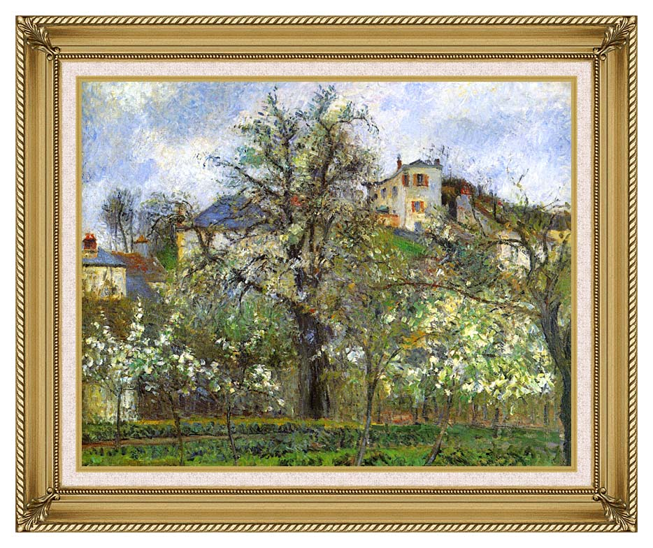 Camille Pissarro Kitchen Garden and Flowering Trees, Spring, Pontoise with Gallery Gold Frame w/Liner