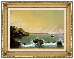 Martin Johnson Heade Rio De Janeiro Bay Left Detail canvas with gallery gold wood frame