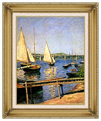 Gustave Caillebotte Sailing Boats At Argenteuil canvas with gallery gold wood frame