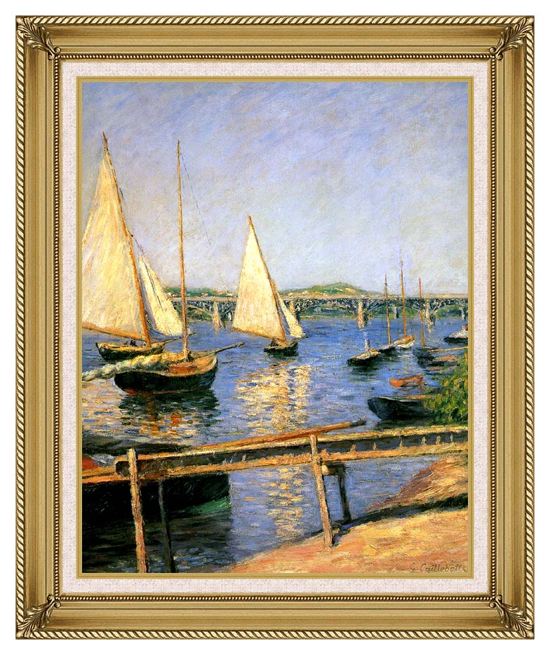 Gustave Caillebotte Sailing Boats at Argenteuil with Gallery Gold Frame w/Liner