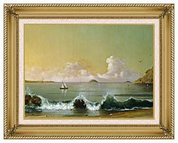 Martin Johnson Heade Rio De Janeiro Bay Right Detail canvas with gallery gold wood frame