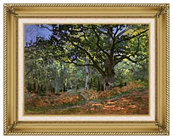 Claude Monet The Bodmer Oak Forest Of Fontainebleau canvas with gallery gold wood frame