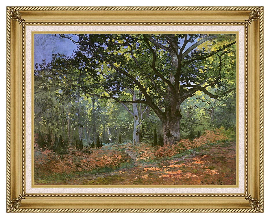 Claude Monet The Bodmer Oak, Forest of Fontainebleau with Gallery Gold Frame w/Liner
