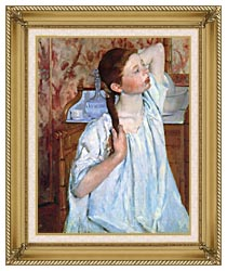 Mary Cassatt Girl Arranging Her Hair canvas with gallery gold wood frame