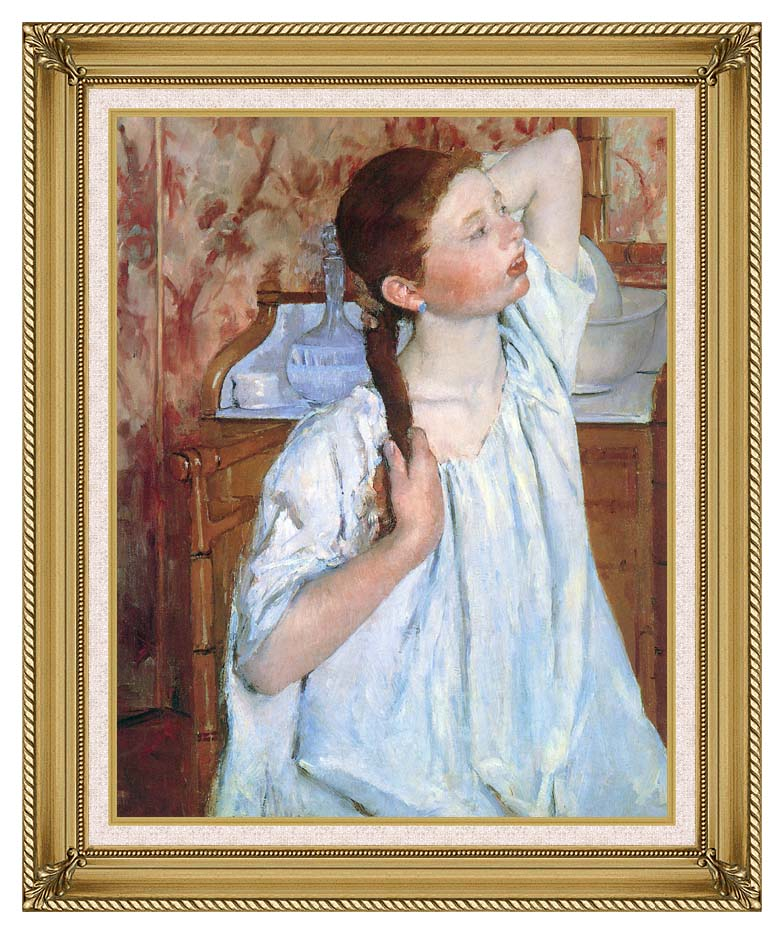 Mary Cassatt Girl Arranging Her Hair with Gallery Gold Frame w/Liner