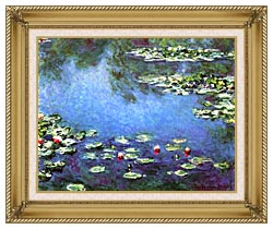 Claude Monet Water Lilies 1906 Detail canvas with gallery gold wood frame