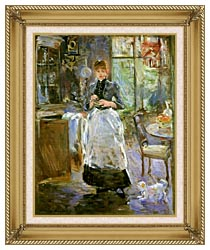 Berthe Morisot In The Dining Room canvas with gallery gold wood frame