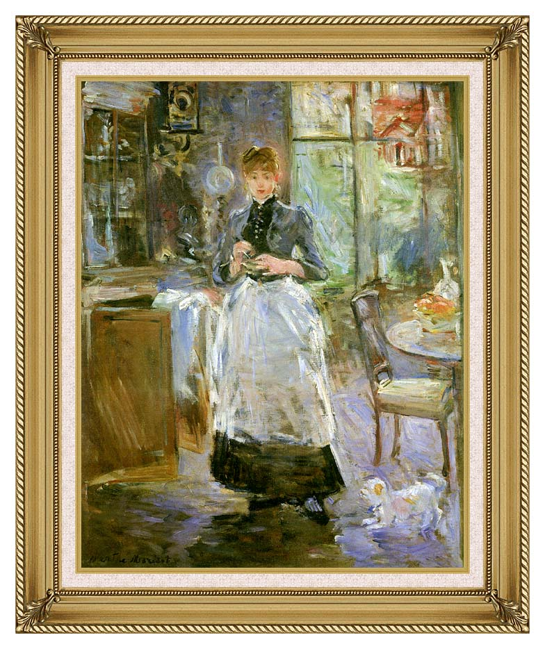 Berthe Morisot In the Dining Room with Gallery Gold Frame w/Liner