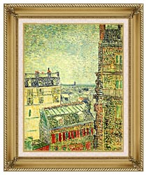 Vincent Van Gogh Paris Seen From Vincents Room In The Rue Lepic canvas with gallery gold wood frame