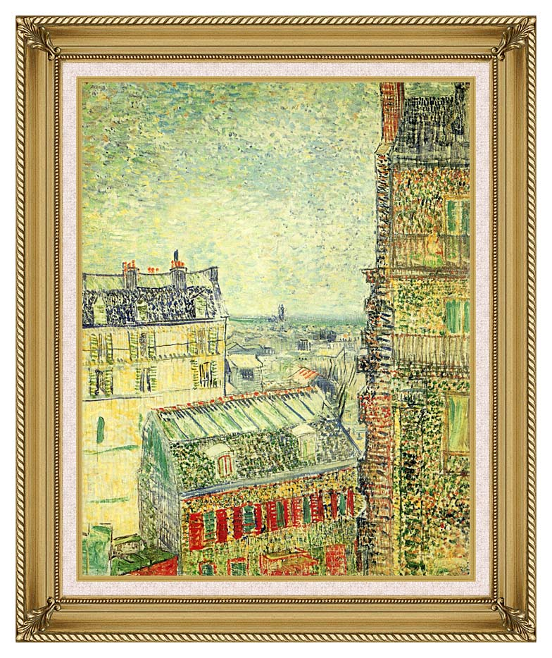 Vincent van Gogh Paris Seen from Vincent's Room in the Rue Lepic with Gallery Gold Frame w/Liner