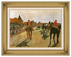 Edgar Degas Racehorses Before The Stands canvas with gallery gold wood frame
