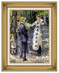 Pierre Auguste Renoir The Swing canvas with gallery gold wood frame