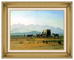 Albert Bierstadt Surveyors Wagon In The Rockies canvas with gallery gold wood frame