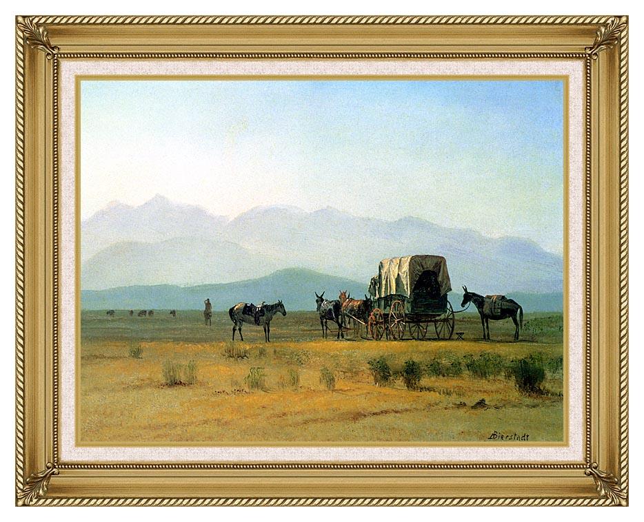 Albert Bierstadt Surveyor's Wagon in the Rockies with Gallery Gold Frame w/Liner