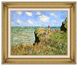 Claude Monet Walk On The Cliff At Pourville canvas with gallery gold wood frame