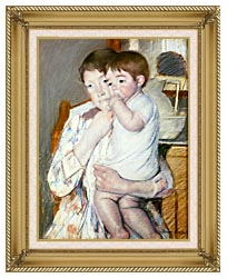 Mary Cassatt Baby On His Mothers Arm canvas with gallery gold wood frame