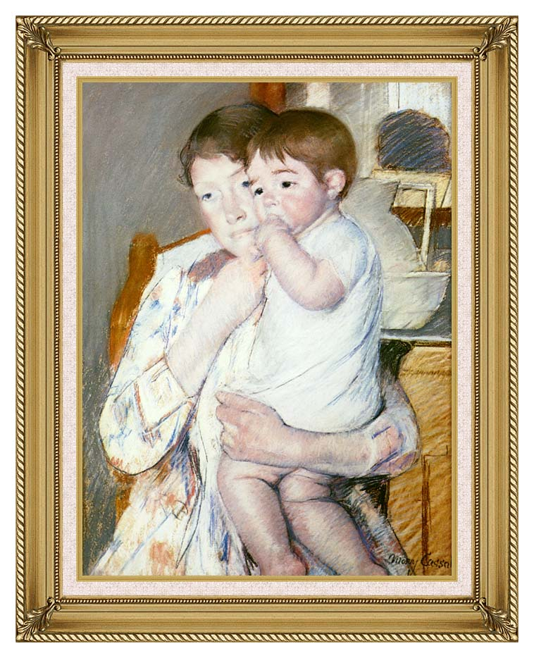 Mary Cassatt Baby on His Mother's Arm with Gallery Gold Frame w/Liner