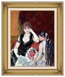 Pierre Auguste Renoir At The Concert canvas with gallery gold wood frame
