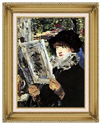 Edouard Manet The Reader canvas with gallery gold wood frame