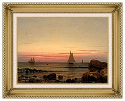 Martin Johnson Heade Sailing Off The Coast Detail canvas with gallery gold wood frame