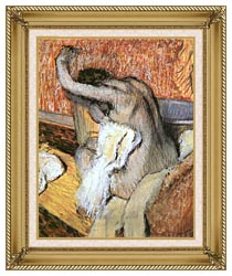Edgar Degas After The Bath Woman Drying Herself canvas with gallery gold wood frame