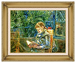 Berthe Morisot Little Girl Reading canvas with gallery gold wood frame