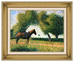 Georges Seurat Horse canvas with gallery gold wood frame