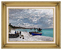Claude Monet Beach At Sainte Adresse canvas with gallery gold wood frame