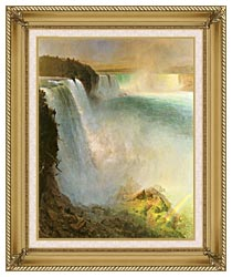 Frederic Edwin Church Niagara Falls From The American Side canvas with gallery gold wood frame