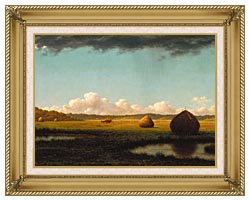 Martin Johnson Heade Summer Showers Detail canvas with gallery gold wood frame