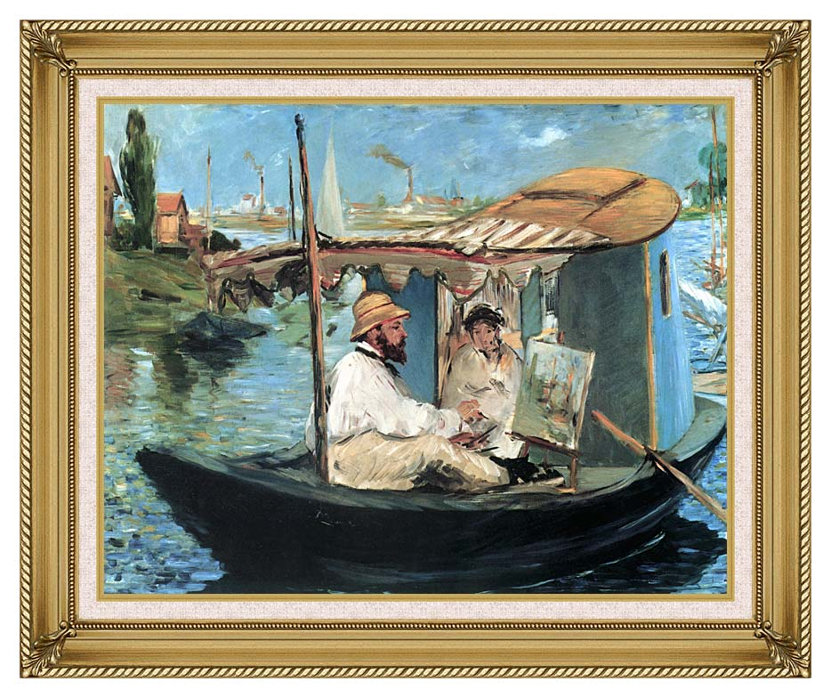 Edouard Manet Claude Monet in his Floating Studio with Gallery Gold Frame w/Liner