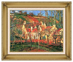 Camille Pissarro The Red Roofs canvas with gallery gold wood frame