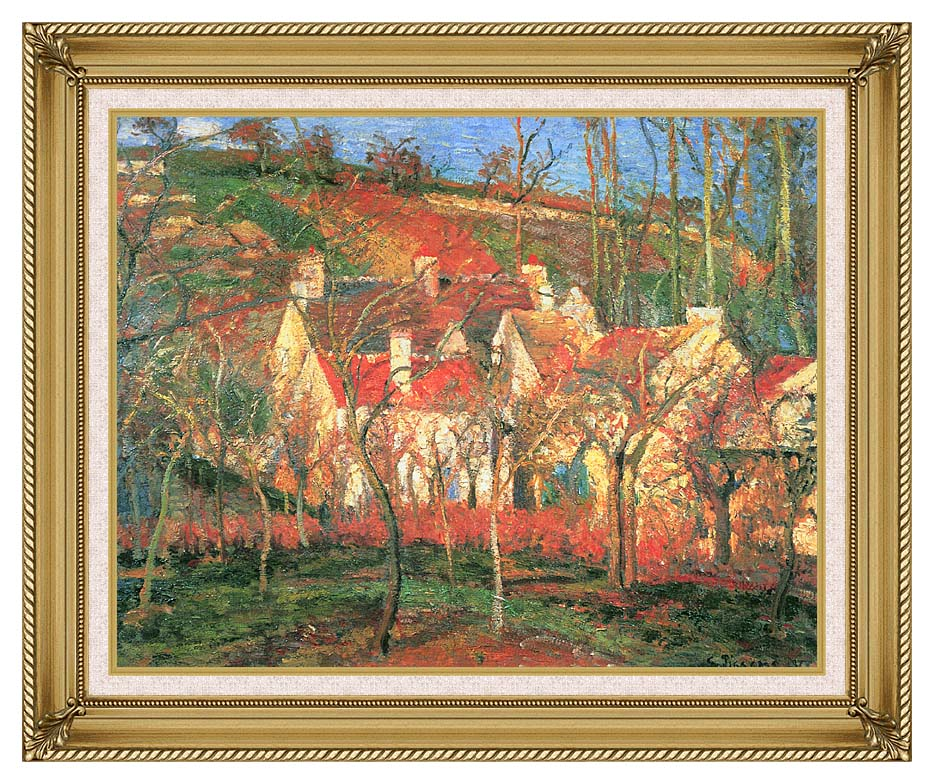 Camille Pissarro The Red Roofs with Gallery Gold Frame w/Liner