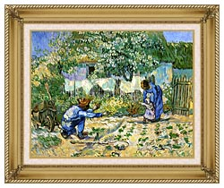 Vincent Van Gogh First Steps canvas with gallery gold wood frame