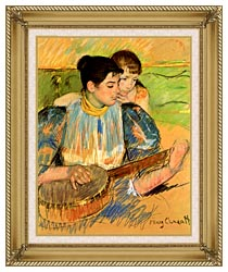 Mary Cassatt The Banjo Lesson canvas with gallery gold wood frame