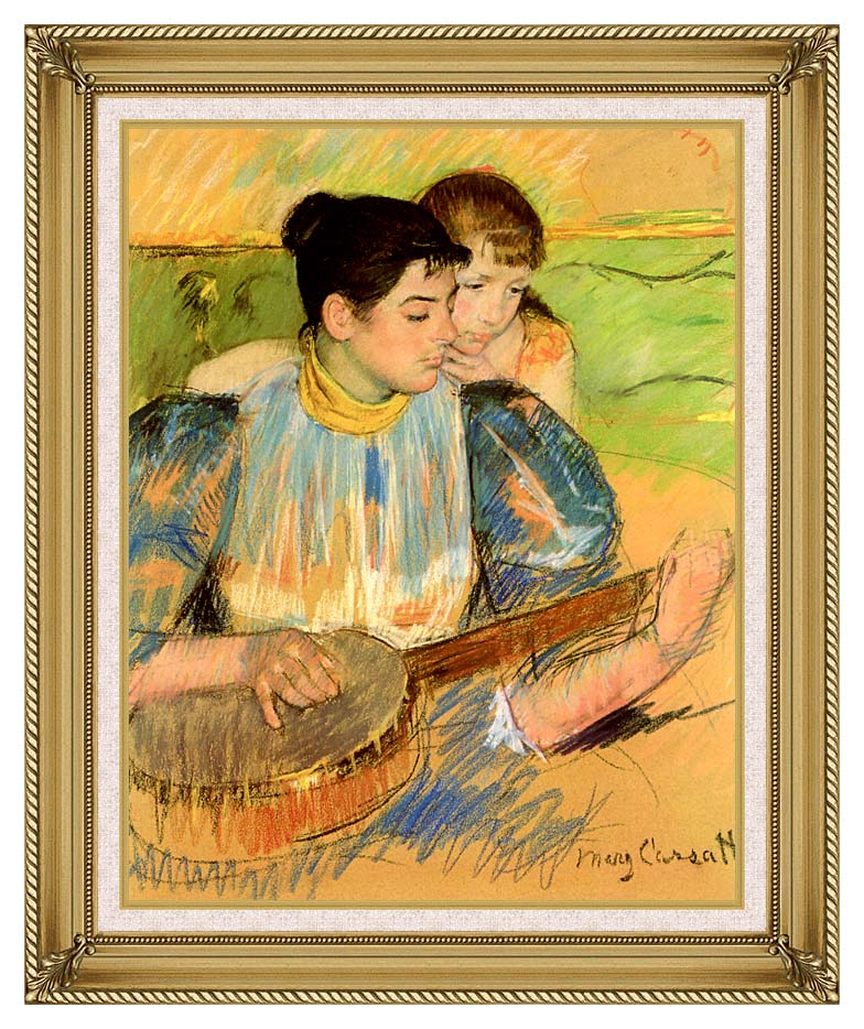 Mary Cassatt The Banjo Lesson with Gallery Gold Frame w/Liner