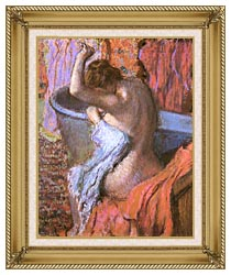 Edgar Degas Seated Bather Drying Herself canvas with gallery gold wood frame