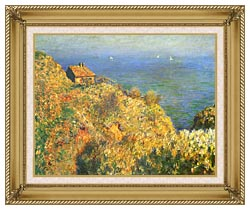 Claude Monet The Fishermans House Varengeville canvas with gallery gold wood frame