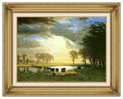Albert Bierstadt The Buffalo Trail canvas with gallery gold wood frame