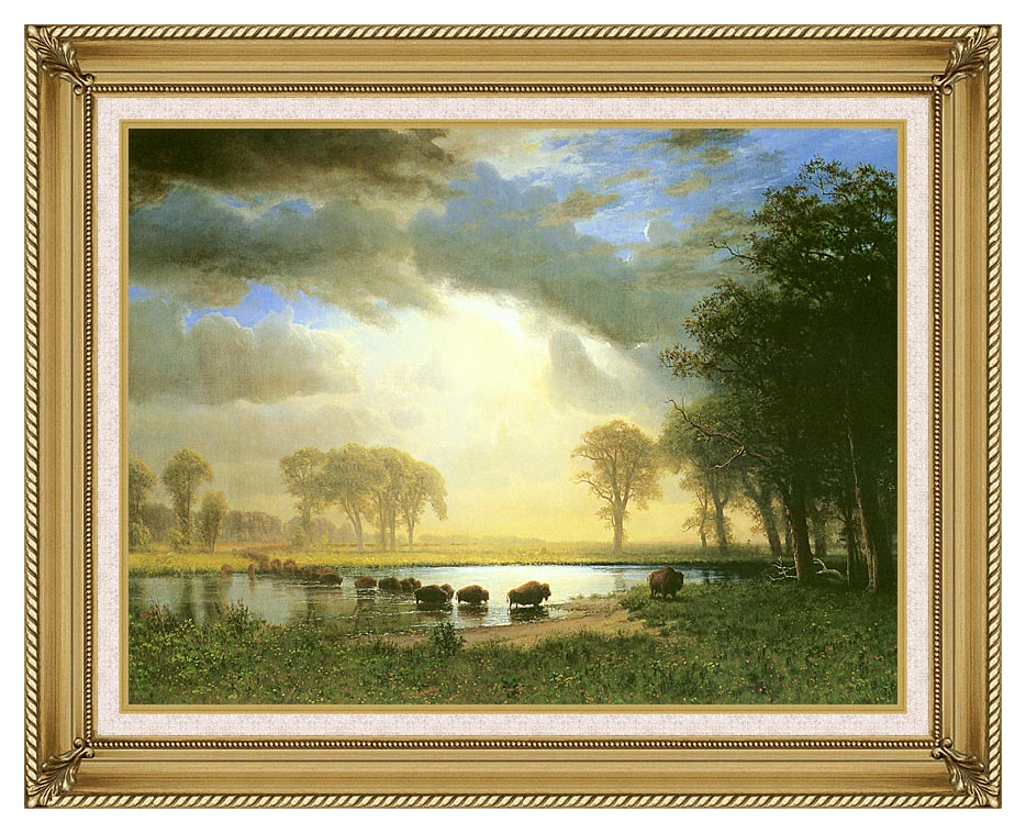 Albert Bierstadt The Buffalo Trail with Gallery Gold Frame w/Liner