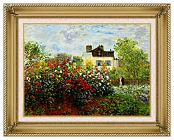 Claude Monet Monets Garden At Argenteuil canvas with gallery gold wood frame